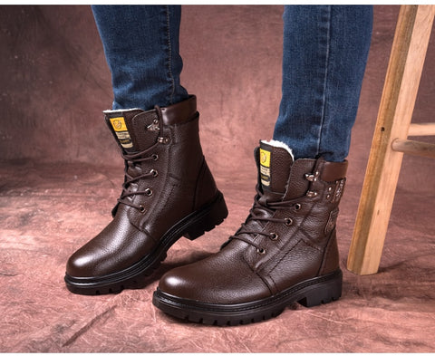 British Genuine Leather Boots With Wool Warm - vajshoping