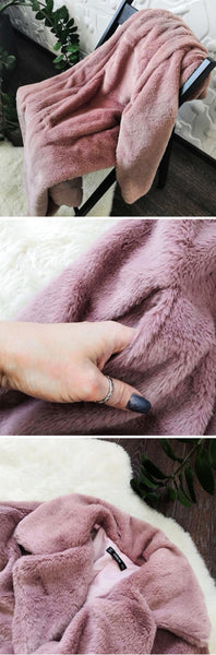 Pink Open Front Faux Fur Teddy women Long Coat - vajshoping