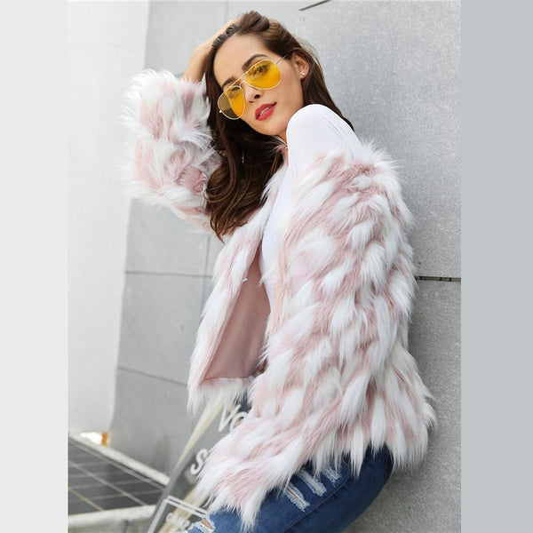Elegant Women Faux Fur Crop Teddy Coat - vajshoping