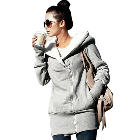 Warm Hoodies Overcoat Winter Fleece Coat Zip