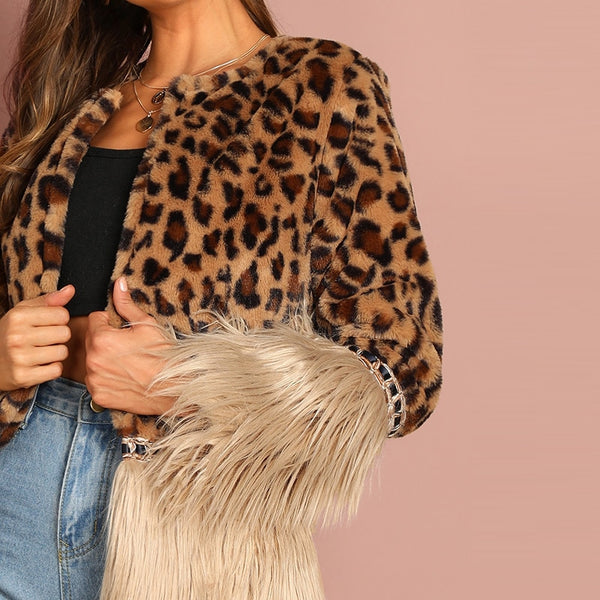 Gorgeous Faux Fur Leopard Jacket Long Sleeve Outerwear - vajshoping