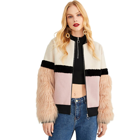 Faux Fur Sleeve Plaid Notched Coat Winter Jacket  Women - vajshoping