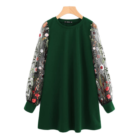Green Preppy Elegant Botanical Embroidered Mesh Sleeve Longline Pullover Sweatshirt Autumn Casual Campus Women Sweatshirts - vajshoping