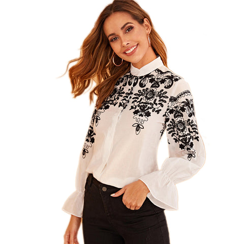 Black And White Embroidery Stand Collar Elegant  Ladies Blouse - vajshoping
