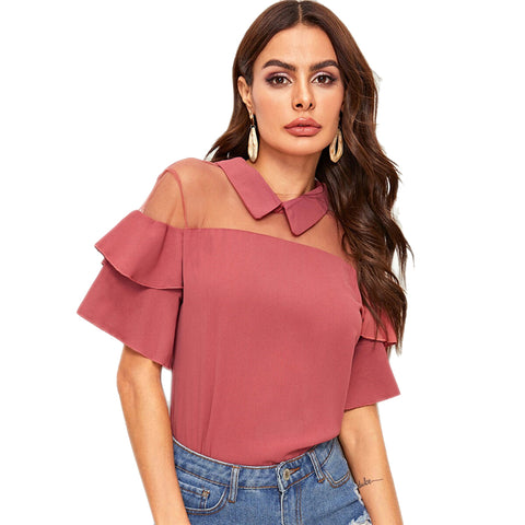 Pink Solid Contrast Mesh Insert Ruffle Summer Tiered Sleeve Basics Casual Ladies Blouse - vajshoping