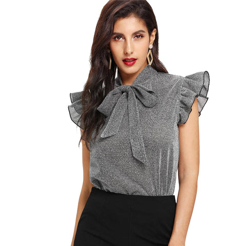 Women Gray Tie Neck Ruffle Sleeve Summer Casual Blouses Elegant Office Lady Party Glitter - vajshoping