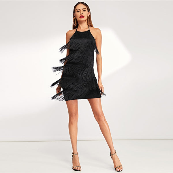 Black Layered Fringe Detail Going Out Sleeveless Solid Short Dress Lady Women Party Dresses - vajshoping