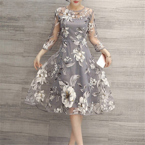 Mesh 2019 Summer Women Casual Elegant  High Waist A-line Dress Three Quarter Sleeve Vintage Party O Neck Floral Print Dresses - vajshoping