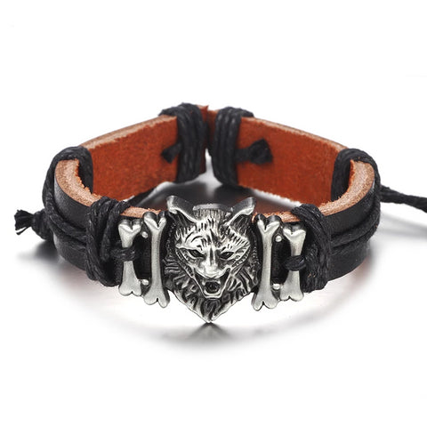 Wolf Head Ornament Genuine Leather Bracelets - vajshoping