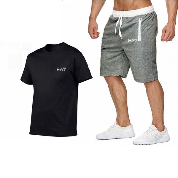 Train Graphic Series Print Fashion For Men New EA7 white Short Sleeve Men Tracksuits Set Male T-shirt fashion Clothing - vajshoping