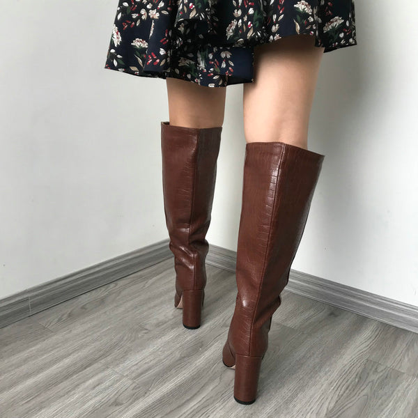 Faux Leather Women Knee High Boots Pointed Toe - vajshoping