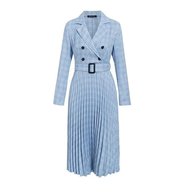 Simplee Vintage pleated belt plaid dress women Elegant office ladies blazer dresses Long sleeve female autumn midi party dress - vajshoping