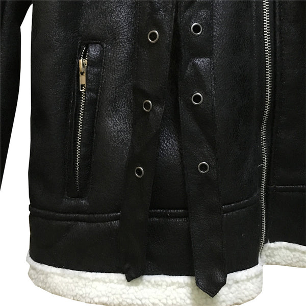 Mens Leather Jackets Male motorcycle Jacket PU Business Casual Plus Thick Warm Fur Collar Winter Faux Biker Coats Windproof - vajshoping