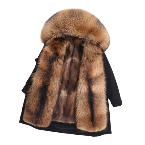 OFTBUY Real Fur Coat Super Big Raccoon Fur Collar Hood Winter Jacket Women Parka Natural mink Fur Liner Thick Warm Detachable - vajshoping