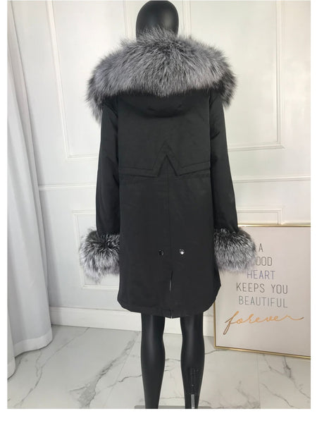 Genuine fox fur jacket with large collar and fur lining - vajshoping