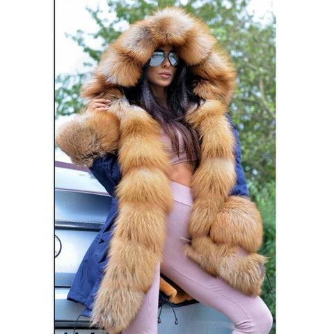 Thick Winter Warm Parka Coat Fur Collar