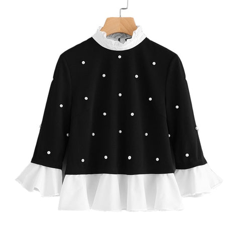 Frill Trim Pearl Embellished Top Black and White Contrast Three Quarter Length Flare Sleeve Blouse - vajshoping