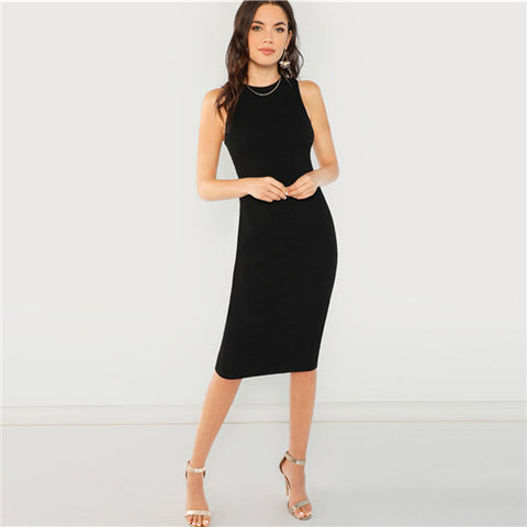 Black Elegant Solid Pencil Dress Slim Sleeveless Knee Length - vajshoping