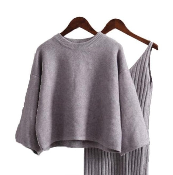 Solid Knitted Woman Short Strap Dress + Loose Sweater Suit - vajshoping