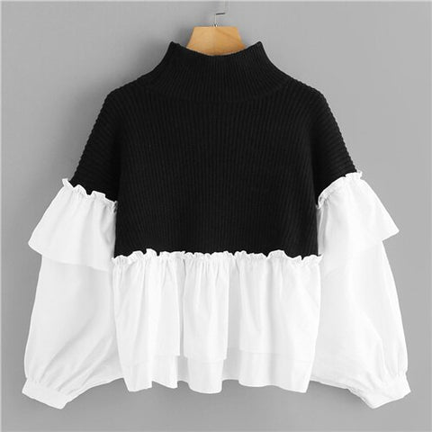 Casual High Neck Batwing Sleeve Pullover - vajshoping