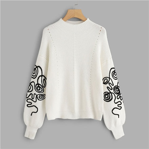 Women Elegant Casual Round Neck Long Sleeve Sweater - vajshoping