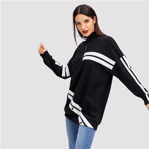Black Minimalist Preppy Button Detail Color Block White Striped Long Sweatshirt Autumn Casual Campus Women Sweatshirts - vajshoping