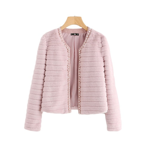 Sheinside Pink Pearl Beading Textured Faux Fur Coat Winter Collarless Cute Outerwear With Lining 2018 Womens Elegant Coats - vajshoping