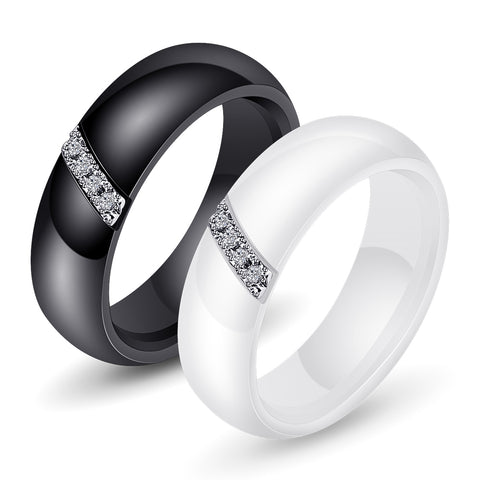 Fashion White Black Ceramic Rings