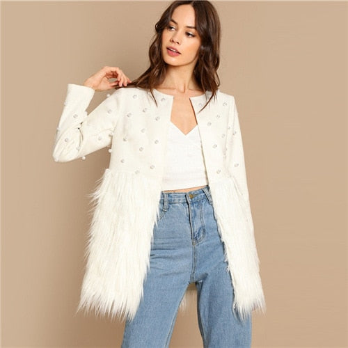 Sheinside White Pearl Embellished Coat Women Autumn Jacket Elegant Ladies Outerwear 2018 Womens Fashion Patchwork Faux Fur Coats - vajshoping