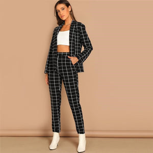 Black Stretchy Grid Print Shawl Collar Plaid Long Sleeve Blazer Pants Set Women Autumn Workwear Morden Lady Twopiece - vajshoping