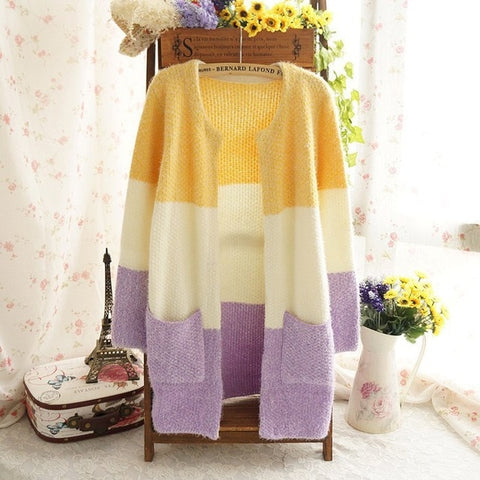 Autumn Winter Mohair Long Cardigans