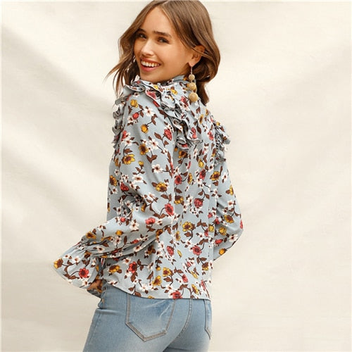 Elegant Multi Coloured Tie Neck Layered Ruffle Trim Floral Top Flounce Sleeve Blouse - vajshoping