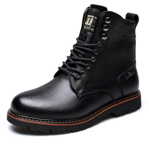 Men Winter Warm Boots Lace Up Cow Leather