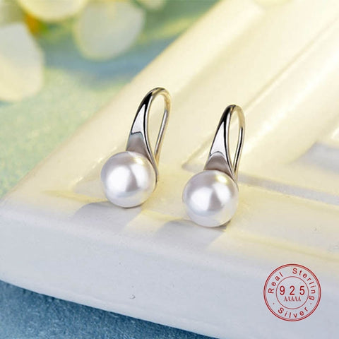 Women Elegant 925 Sterling Silver Big Clear Pearl Earrings