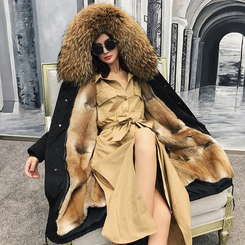 Women Real Fur Coat Natural Raccoon Fur Collar Hood Mink Fur Liner - vajshoping