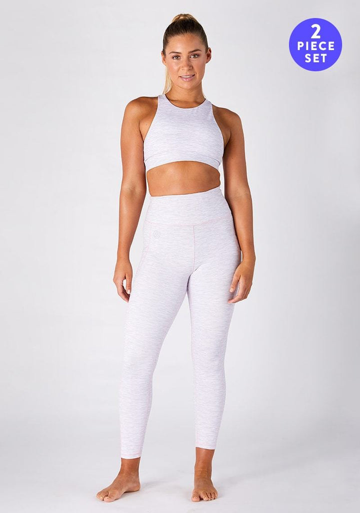 Electric Eva Light Grey ⅞ Leggings & Crop Set