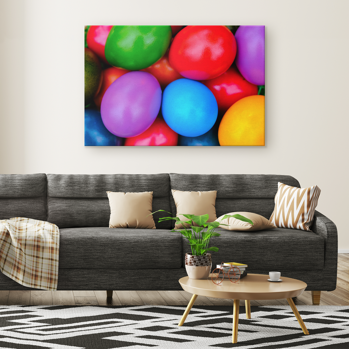 Colorful Easter Eggs Rectangle Gallery Canvas wall art