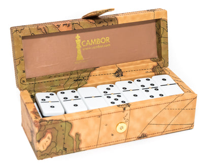Jumbo Size Deluxe Double Six Dominoes Set with leatherette map case