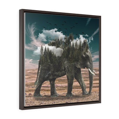 Elephant and the cloud - Square Framed Premium Gallery Wrap Canvas