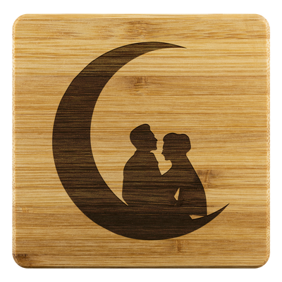 Couple in the moon - Bamboo coaster (set of 4)