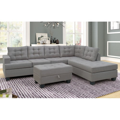 Sofa 3-Piece Sectional with Chaise Lounge and Storage Ottoman L Shape Couch