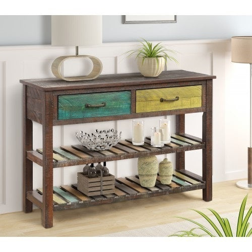 Multicolored rustic Console Table / Sofa Table with Drawers and 2 Tiers Shelves