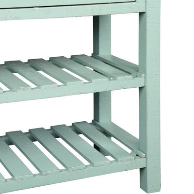 Retro Console Table for Entryway with Drawers and Shelf Living Room Furniture