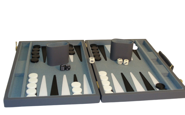 "15"" Grey Vinyl Backgammon"