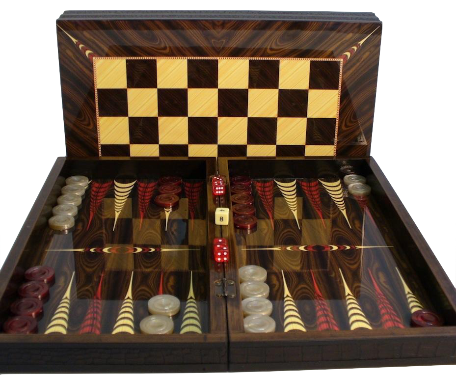 Elegant Brown Croc Trim Backgammon with Chessboard