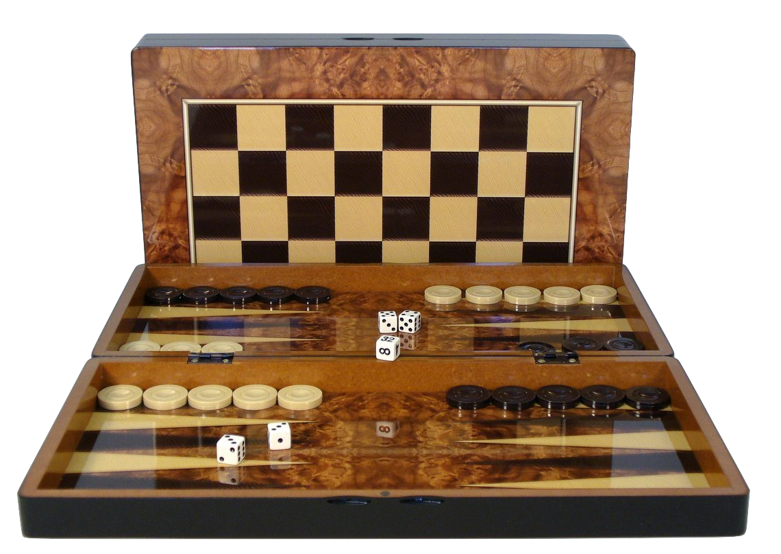 Burlwood Decoupage Backgammon