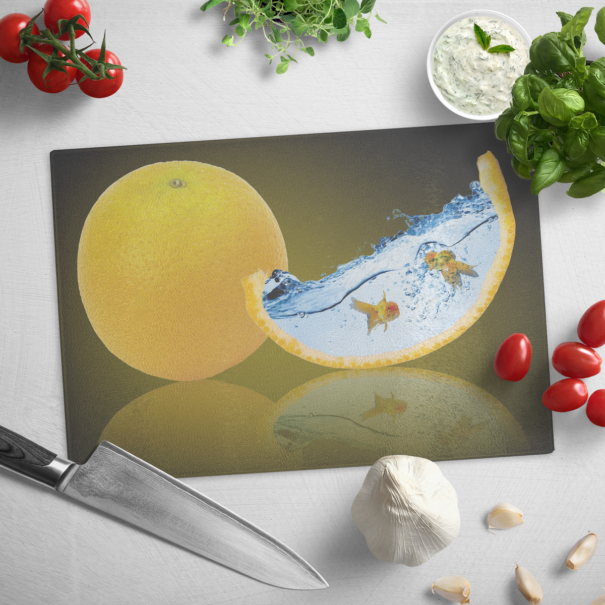 The fantasy Orange and gold fish - Glass cutting board
