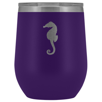 Sea horse stainless steel vacuum insulated Stemless Wine Tumbler with clear lid