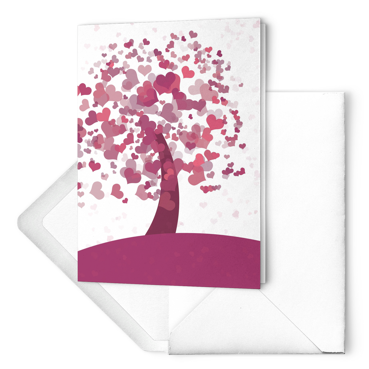Tree of hearts - Folded Greeting Card  (Pack of 10/30/50 pcs)