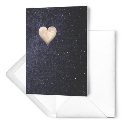 The moon heart  - Folded Greeting Card (Pack of 10/30/50 pcs)